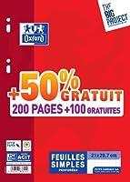 Oxford Scolaire 400019144 Feuillet mobile perforé A4 21 x 29.7 cm 90 g Petits carreaux 5x5 200 pages + 100 gratuites