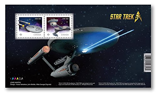 Star Trek 50th Anniversary - Souvenir Sheet of 2 (U.S.S. Enterprise and Klingon battle cruiser) Collectible Postage Stamps Canada (Canada Post compare prices)