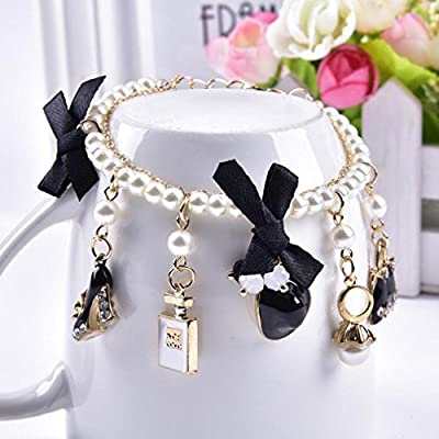 YAZILIND Golden Alloy Black High-Heeled Shoes Perfume Handbag Adjustable Bracelet for Lady