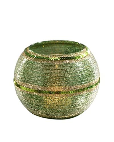 Glass Beaded Votive with Thread and Sequins, Green