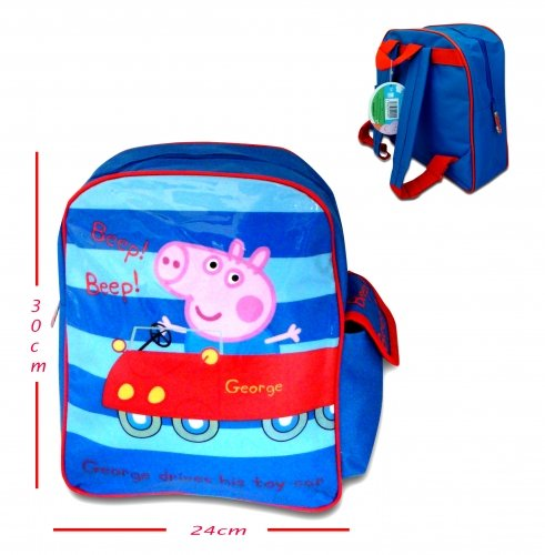 George Peppa Pig Drives Toy Car School Backpack
