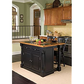 Home Styles 5009-948 Monarch Granite Top Kitchen Island with 2 Stool, Black Finish