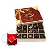 Chocholik Luxury Chocolates - Love Celebration Of Dark And Milk Chocolate Box With Love Mug