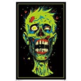 (22x34) Zombie Face Blacklight Poster Print