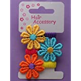 Hair Accessories - Girls Pretty Card of 3 Bright Coloured Embroidered Daisy Ponios.by Lady Isla Fashion
