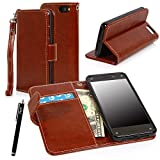 E LV Amazon Fire Phone Case Cover – Deluxe PU Leather Wallet Flip Case with 1 Stylus for Amazon Fire smatphone with 1 Stylus (Brown) by Leather Factory Outlet