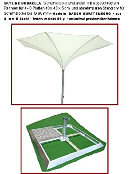 350cm de diámetro–Skyline Umbrella–Manivela sol–Pantalla–Con Seguridad placas Soporte para placas de 40x 40x 5cm con biselado marco sin placas y con man