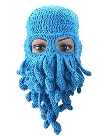 Crochet Octopus Hat : 2014 Handmade Knitted Crochet Beard Hat Bicycle Mask Cap Octopus ...