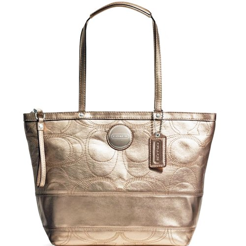 Coach Signature Stripe Stitched Metallic Tote