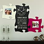 3-Piece Family Rules Clock Puzzle Piece Set