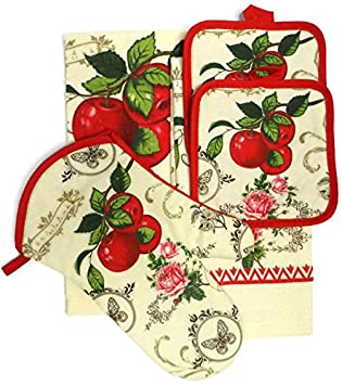 Old Fashioned Red Apple Kitchen Towel Set from amazon.com
