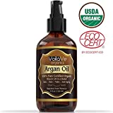 Organic Argan Oil for Hair & Face - Cold-Pressed 100% Pure Moroccan Argan Oil - ECOCERT & USDA Certified Organic - Large 4-ounce Bottle - Miracle Beauty Oil for Skin, Hair, Nails, & Anti-aging