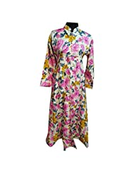 Printed Off White And Pink Raw Silk Designer Party Wear Kurti Semi Stitched