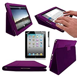 New Apple iPad 3 iPad 3rd Generation & New iPad 4 4th Generation 2012 With Retina Display (ALL Model Versions) PURPLE Multi-Function Leather Case / Cover / Typing & Viewing Stand / Flip Case With Magnetic Sleep Sensor & Sunny Savers Screen Protector Shield Guard & iPad3 iPad4 Stylus Accessory Accessories Pack by InventCase®