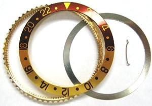 Bezel & Insert for Rolex Brown/Gold GMT 18ky Gold 16700