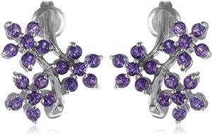 Sterling Silver Amethyst Flowers Earrings