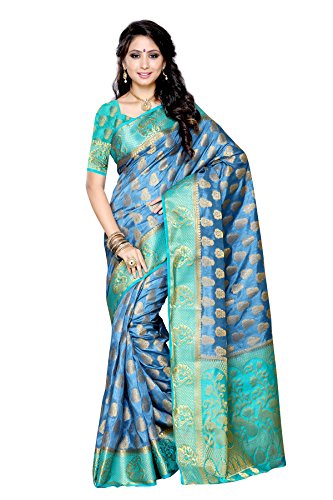 Mimosa Women's Traditional Art Silk Saree Kanjivaram Style With Blouse Color:Grey(3299-224-GREY-SAFF )  available at amazon for Rs.1899
