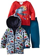 Zutano Baby-Boys Infant Motorway Hoodie Screen Long Sleeve Tee And Pant Set, Multi, 12M