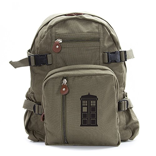 Doctor Who Tardis Army Sport Heavyweight Canvas Backpack Bag in Olive & Black, Small