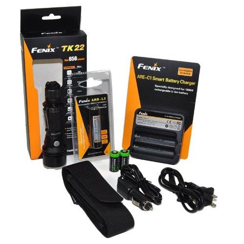 Fenix Tk22 650 Lumen Tactical Led Flashlight With Fenix Arb-L2 18650 2600Mah Li-Ion Rechargeable Battery, Fenix Are-C1 Home/Car Chargerand 2 X Edisonbright Cr123A Lithium Batteries Package