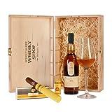 """Geschenkidee Whisky und Zigarre - Lagavulin 16, Montecristo Petit Tubos und Whiskyglas Spiegelau Sniftervon """"Schottischer Whisky Shop"""""""