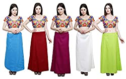 Pistaa combo of Women's Pure Cotton Turquoise Blue, Deep Maroon, Magenta, Off White and Parrot Green Color Best Ethinic Daily Wear Inskirt Saree petticoats