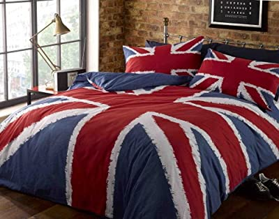 Funky Union Jack British UK Blue Red White Double Duvet Cover Bedding Bed Set