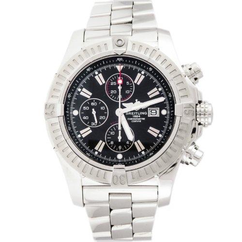 Breitling Aeromarine Super Avenger A13370 Black Chronograph Mens Watch