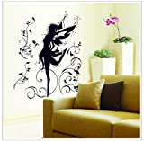 Dancing Fairy Ballerina Silhouette Peel & Stick Removable Wall Decals