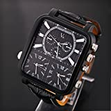YIXIN New Style V6 Big Rectangle Quartz Men's Wrist Watch With 3 Time Zone 3 Move Stainless Steel Band (Black black face)