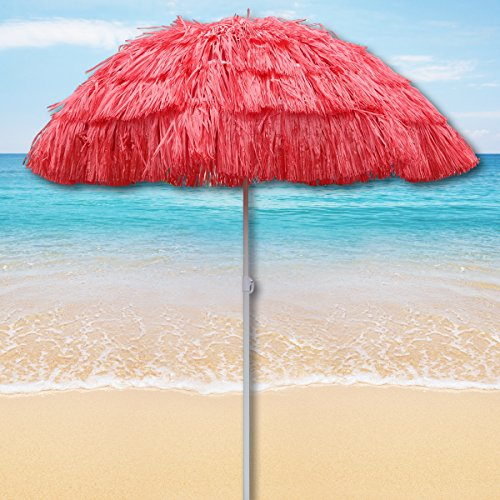 Red Outdoor Garden Hawaiian Parasol Beach Umbrella Tilting Sunshade Patio  Hawaii