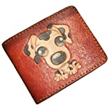 GPUFashion Handmade Leather Craft Wallet Brown Carved with Dots Dog