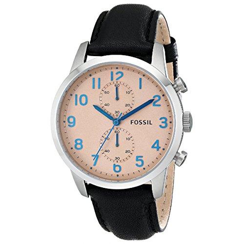 Fossil FS4986 - Reloj para hombres, correa de cuero color negro