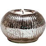 1 BHK Interiors Glass Antique Tealight Candle Holder With Candle (9.5 Cm X 9.5 Cm X 6.5 Cm, Silver, RGTHASFSM)