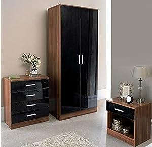 3 piece bedroom set black high gloss walnut frame double - Walnut bedroom furniture sets uk ...