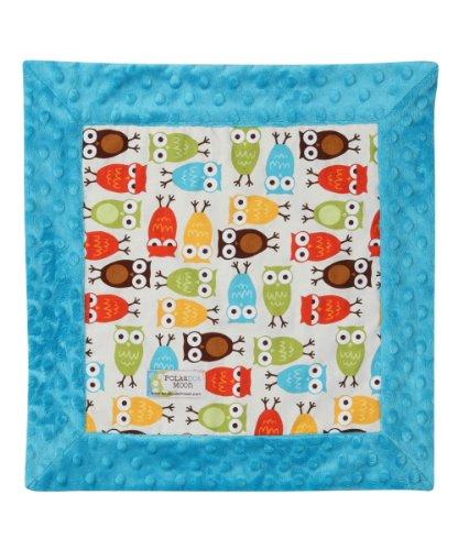 Baby Boy LUXE Lovey/Security Blanket - Owls on Blue Minky