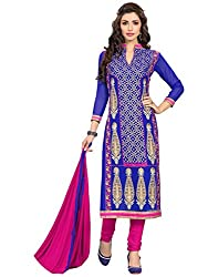 SR Women's Cotton Unstitched Dress Material( navy blue top rani bottom duptta)