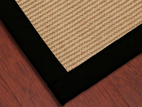 """Heritage"" Wool Sisal Natural Fiber Rug (Boucle Design) 4' x 6' - Black Cotton Binding, Latex Backing (Custom Size and Color Available)"