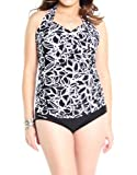Oceanlily Women's Twist Front Tankini Black/White S