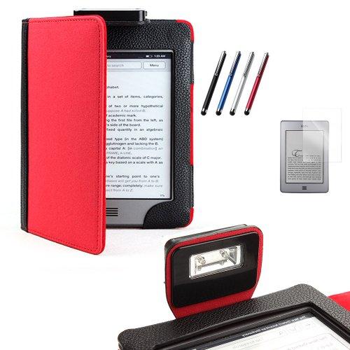 Funda con luz para el Kindle Touch (negro /rojo) + PROTECTOR DE PANTALLA + LÁPIZ ÓPTICO