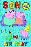Peppa Pig Son Birthday Card with Badge