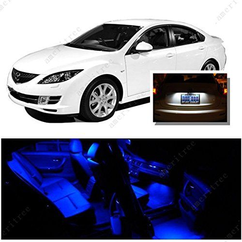 Ameritree Blue Led Lights Interior Package + White Led License Plate Kit For Mazda 6 2003-2008 (9 Pieces)