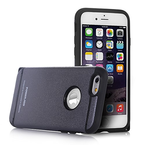 iPhone 6 Case, Poweradd™ [Non Slip] Case Cover for iPhone 6(4.7) Dual Layer with Shock Absorbing and Scratch Resistant – Retail Packaging – Gunmetal