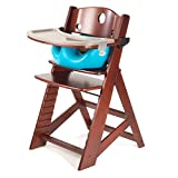 Height Right High Chair in Mahogany with Infant Insert with Tray in Aqua