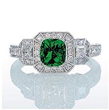 buy 2 Carat Princess Cut Trilogy Emerald And Diamond Vintage Halo Engagement Ring On 10K White Gold