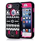 Oksobuy® Stylish Atmosphere Ethnic Aztec Pattern Deluxe Hard Soft High Impact Armor Case Combo for Apple Iphone 5, (Rose Red, Iphone 5 Case)-0229