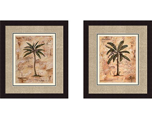 PALM-I-II-Tropical-Floral-Palm-Tree-Triple-Mat-FRAMED-PRINT-SET-Justin-Coopersmith-18x20-Each