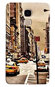 Omnam City Road Printed With Taxi Printed Designer Back Cover Case For Huawei Honor 5C