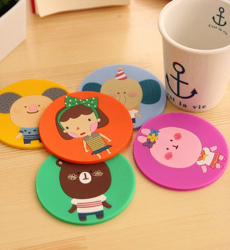 Onor-Tech Set Of 4 Lovely Cute Cartoon Animal Special Cup Mat Silicone Rubber Coaster For Wine, Glass, Tea