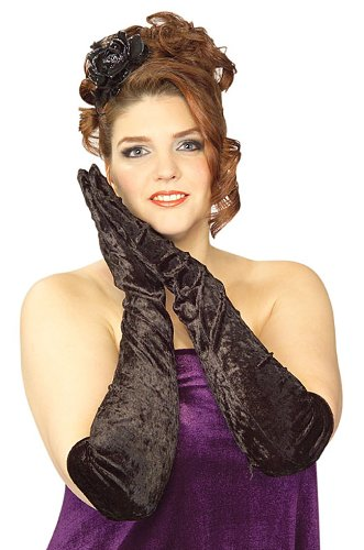 Plus Size Long Black Velvet Gloves - Womens Full (16-20)